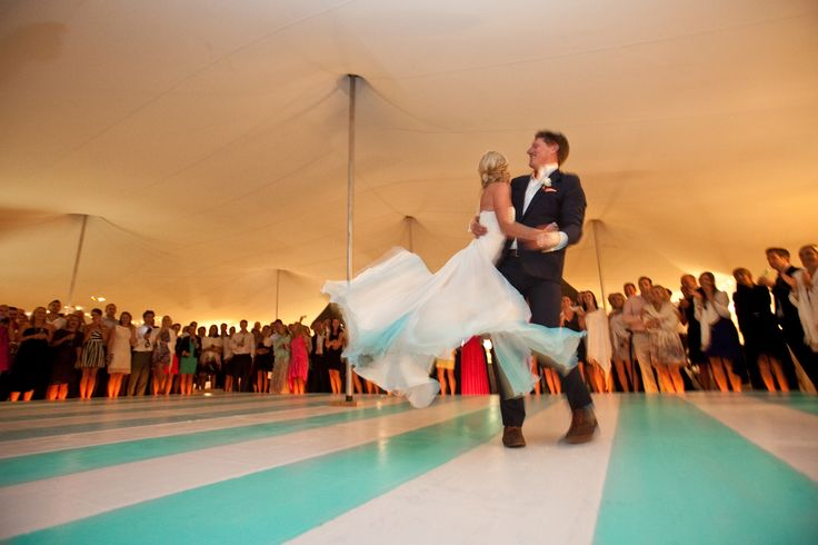 Beach Wedding - Teal and White Stripped Dance Floor under a Bedouin. Perfect for a Beach Setting www.bedouinevents.co.za