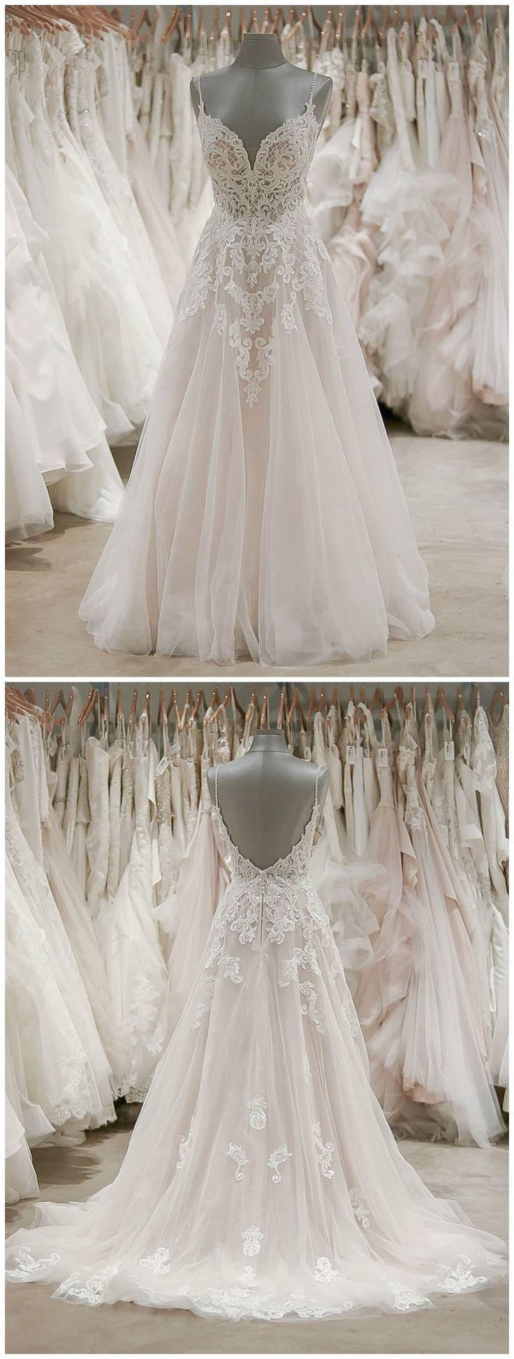 Spaghetti Strap V Neck Beach Wedding Dresses Beaded Bodice Wedding Dress AWD1180