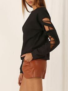 Black Long Sleeve Hollow Sweatshirt