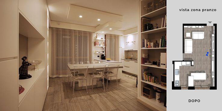 Un tavolo gran protagonista della zona pranzo, con il suo aspetto minimale e la sua versatilità che ruotando di 90 gradi lo fa allungare per ospitare fino a 12 persone.