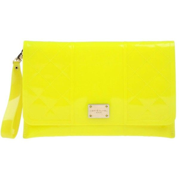 Hervê Guyel Handbag ($90) ❤ liked on Polyvore featuring bags, handbags, clutches, yellow, magnetic closure handbags, rubber purse, yellow handbags, yellow clutches and yellow hand bags