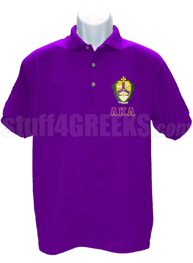 ALPHA KAPPA LAMBDA POLO WITH GREEK LETTERS AND CREST, PURPLE  Item Id: PRE-POLO-AKL-BASIC-LTR-CREST-PRL    Price: $59.00