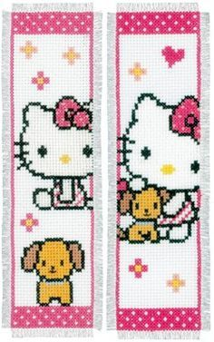 click here to view larger image of Hello Kitty and Dog Bookmarks - Set of 2 (counted cross stitch kit)