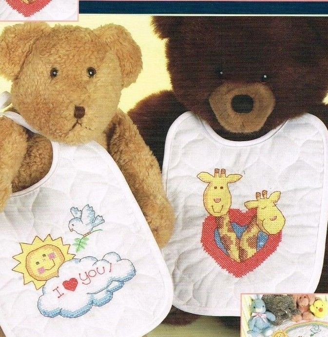 Baby Bib Quilted Stamped Embroidery Kit 2 Bibs Land Ho Noah's Ark Sunset 1996 #Sunset
