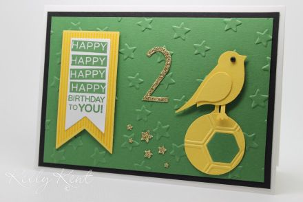 Norwich football/soccer theme (canary) 2nd birthday card.  Kelly Kent - mypapercraftjourney.com.