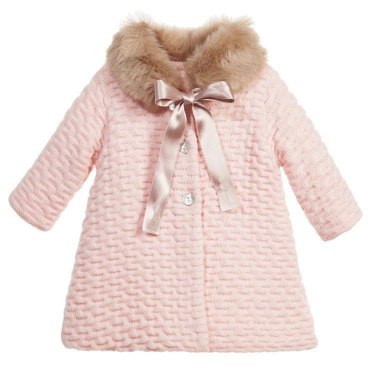 Baby Girls Pink Knitted Coat & Fur Collar, Mebi, Girl