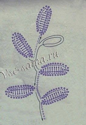 The crochet diagrams for Irish leaf ace