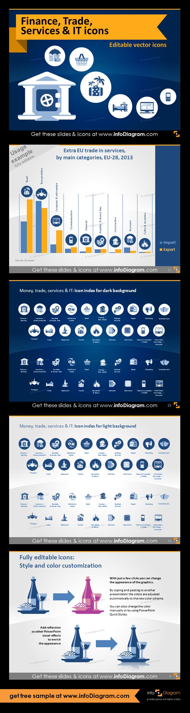 Icons for visualizing Finance, Money, Trade, Services, IT sectors. All symbols are as clipart pictures - fully editable in PowerPoint. Extra EU trade in services by industry categories (bar chart with icons illustration).Finance, trade, service, transport and travel, leisure and IT and electronics symbols. Icons provided in 4 versions. Example of style and color customization.