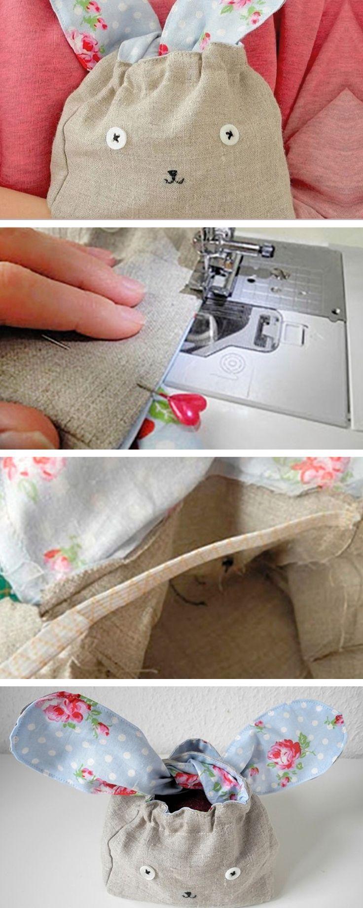 Un sac #lapin à coudre pour #pâques , parfait pour vos chasses aux oeufs ! Découvrez ici le Tutoriel DIY #easter