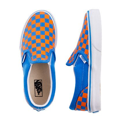 ryder must have these - - boys' vans® orange and blue checkerboard slip-ons