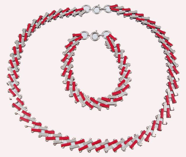 """Jakob Bengal German 1930s  Red enamel and plated chrome  """"brickwork"""" necklace and bracelet"""