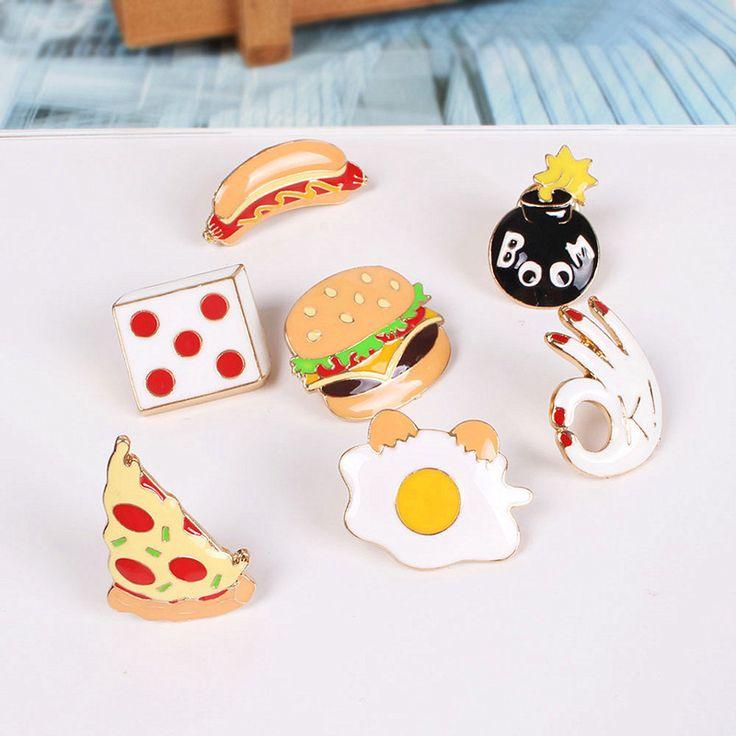 1ピースハンバーガー/ピザ/ホットドッグ/半熟卵ブローチピンメタルジュエリー漫画アクセサリー