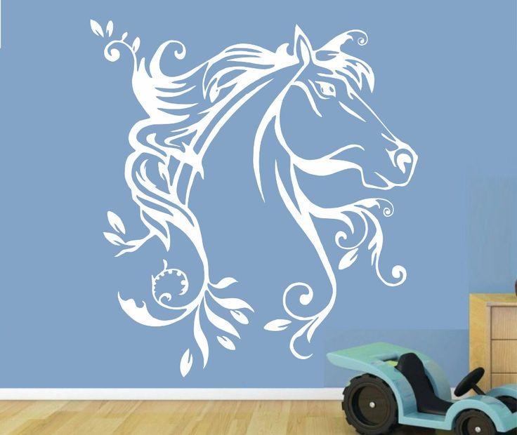 FLORAL HORSE WALL ART STICKER MED VINYL DECAL