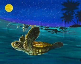 """Arte tropical de Carolyn Steele grabado, bebé tortuga nadando en luz de la luna: """"Luna Waterlemon"""""""