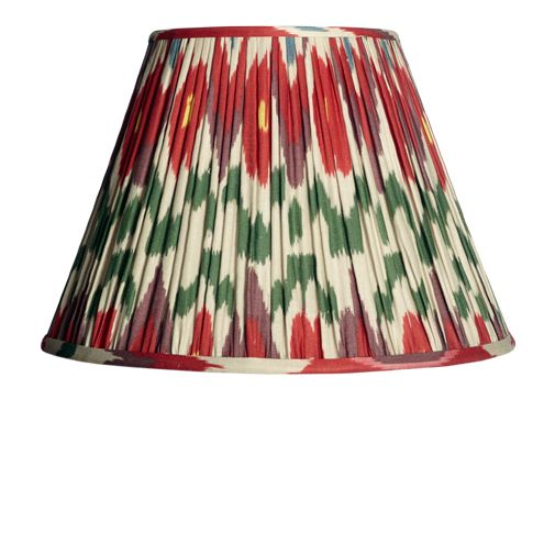 A gathered empire shade in a beautiful ikat pattern that we think borrows a few ideas from the colours of medieval heraldry - anyway, its rather lovely and it's