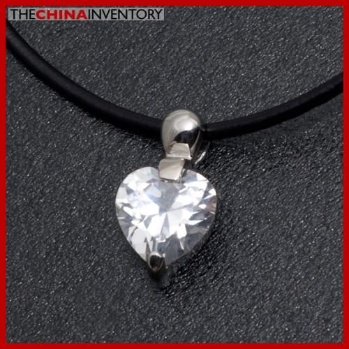 GIRLS CZ HEART PENDANT NECKLACE STAINLESS STEEL P4004