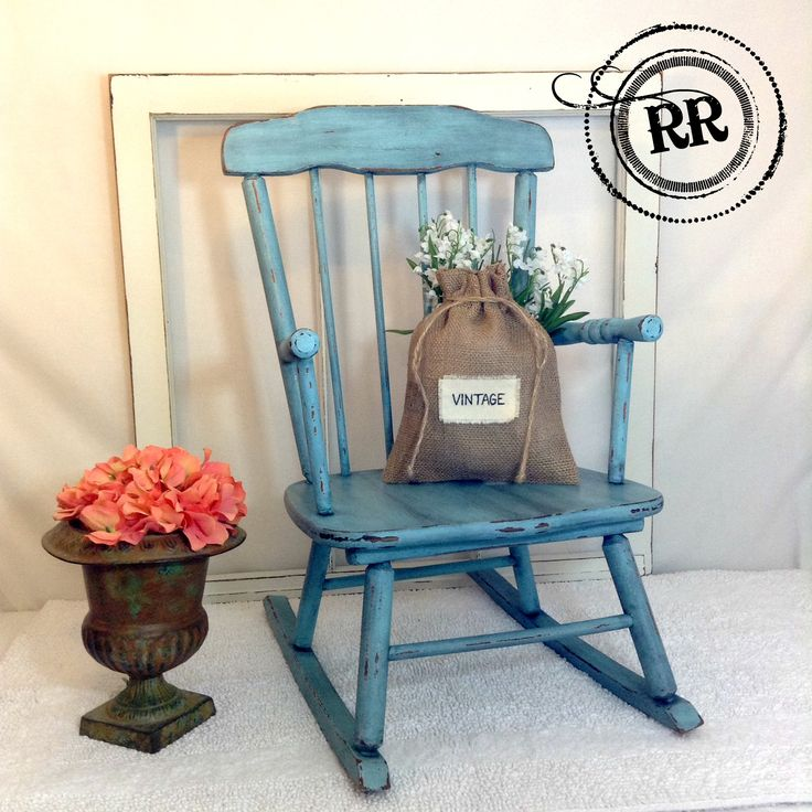 Adorable Vintage Child's Rocking Chair!! Painted with homemade turquoise chalk paint, distressed, then finished with dark wax. By Riddle's Rustics https://www.facebook.com/RiddlesRustics