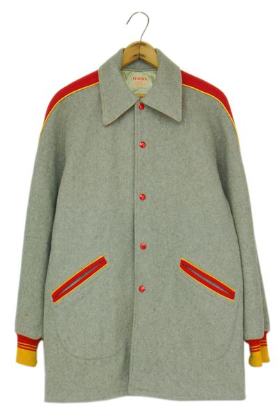 60s all wool university jacket gray/red