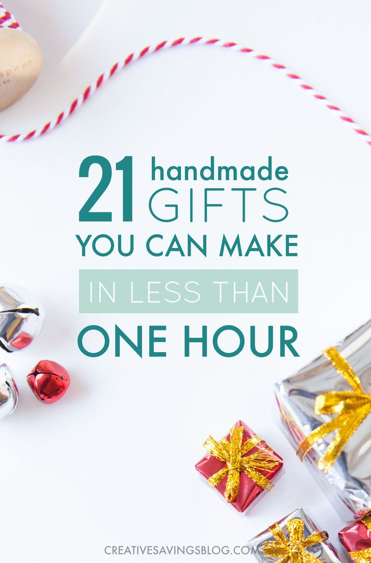 Think handmade gifts take a lot of time? Think again! These 21 easy handmade gift ideas take less than an hour to make and are guaranteed to get those creative juices flowing. Knock out a bunch this weekend and get your Christmas list DONE.