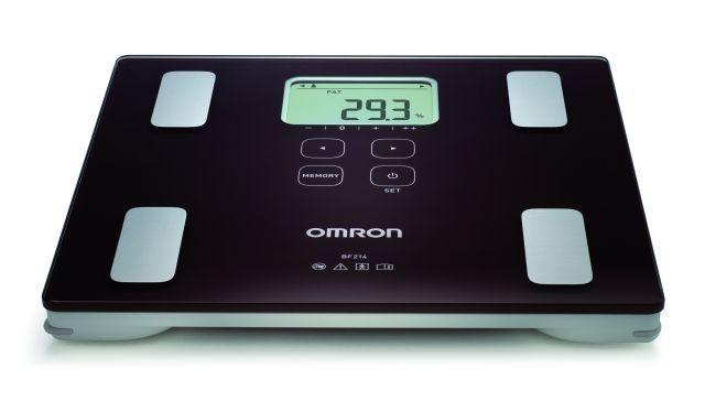OMRON BF214 testösszetétel-elemző mérőkészülék - A készülék már 10 éves kortól használható, alkalmas a testsúly, a testzsír, és a vázizom szerkezet százalék mérésére, továbbá a BMI besorolás kiértékelésére is.