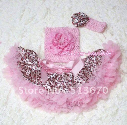 Розовый леопард юбка, Розовый пион вязание верхней части пробки, Розовый леопард повязка на голову 3 шт. комплект MACT143