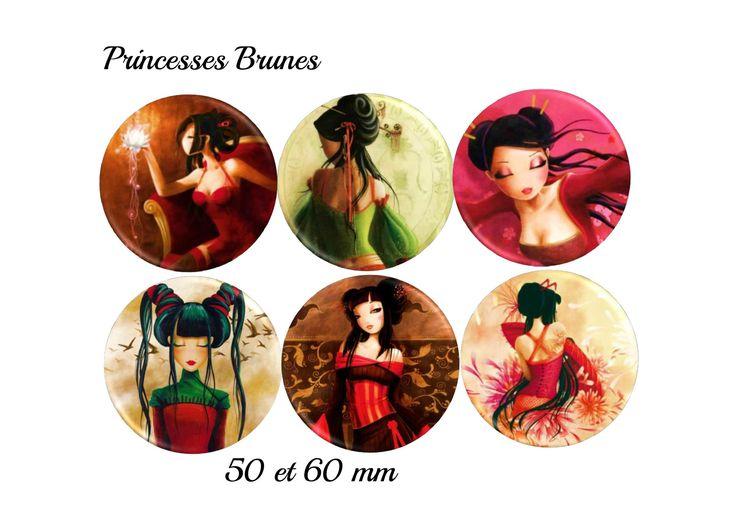 """12 Images digitales 50 et 60 mm """"Princesses brunes"""" : Images digitales pour bijoux par images-et-cabochon"""