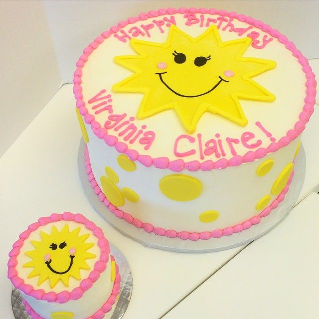 First birthday cake with smash cake for pink and yellow sunshine themed party by Les Amis Bake Shoppe / Baton Rouge, LA