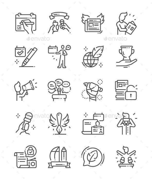 World Press Freedom Day Line Icons. Fully customisable set