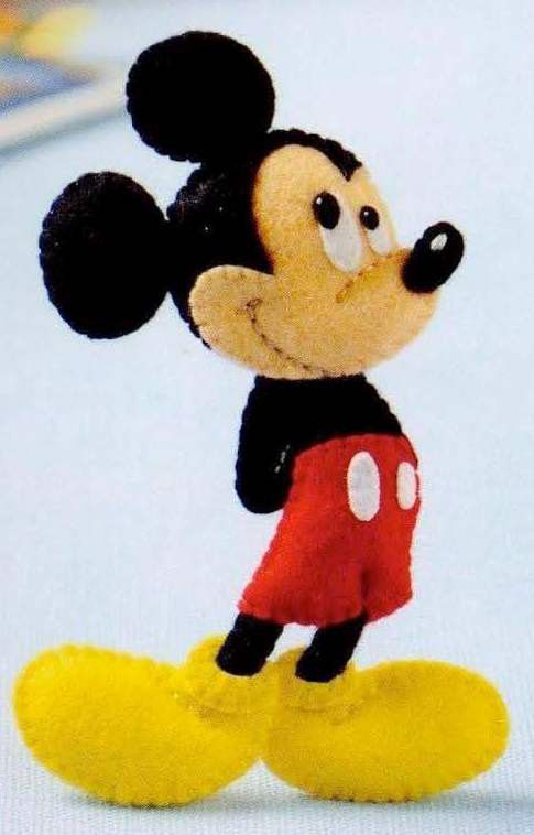 Cute Mickey Mouse Doll made with Felt Digital PDF Tutorial Automatic Download