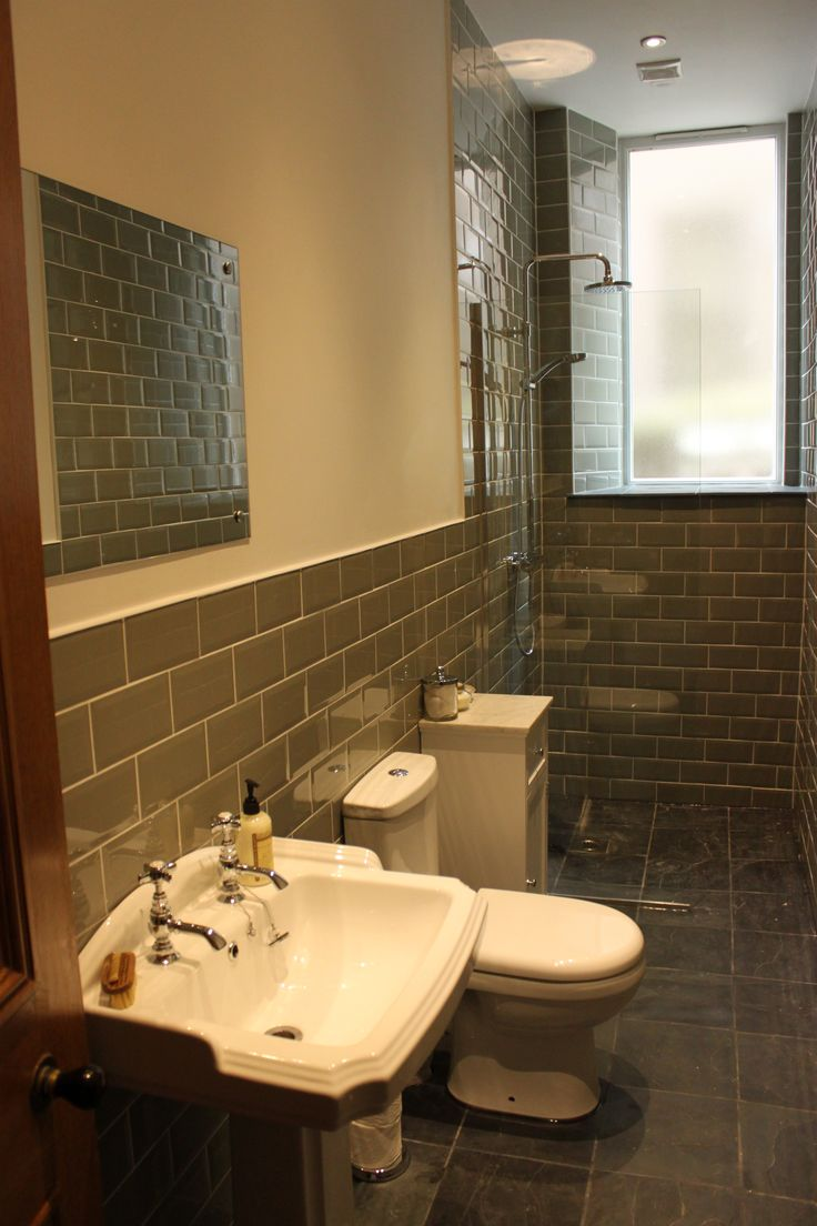 Here's how our shower room worked out.  We love it!  Sage metro tiles, grey slate floor, chrome fittings and traditional sanitary ware.