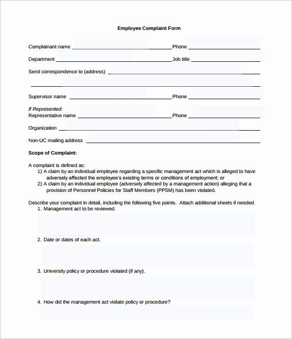 Employee Complaint Form Template In 2020 Employee Complaints