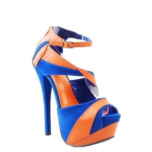 Hoge hakken oranje en blauw - Sandals Reseda Twotone Orange/Blue - Diewilikhebben.com