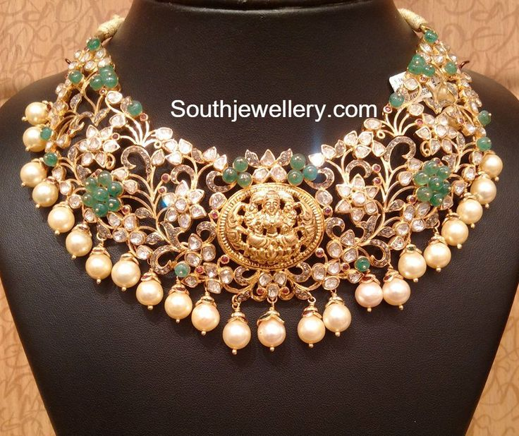 22 carat gold bridal pacchi necklace adorned with uncut diamonds, rubies, emeralds and south sea pearls by Naj Jewellery. For price and weight inquiries contact: whatsApp No.9032041323 or email to mynaj@najindia.com