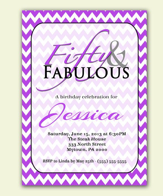26 best 50th birthday images on pinterest 50th birthday purple chevron 50th birthday invitation 50 and fabulous purple party invite printable personalized jpg file invite filmwisefo