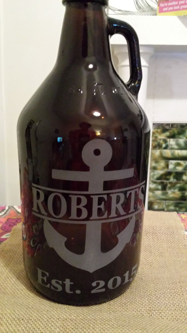 Engraved anchor beer growler, custom homebrew beer growler, personalized growler,growler family name, groomsmen gift, wedding or anniversary by 800ChestnutStreet on Etsy
