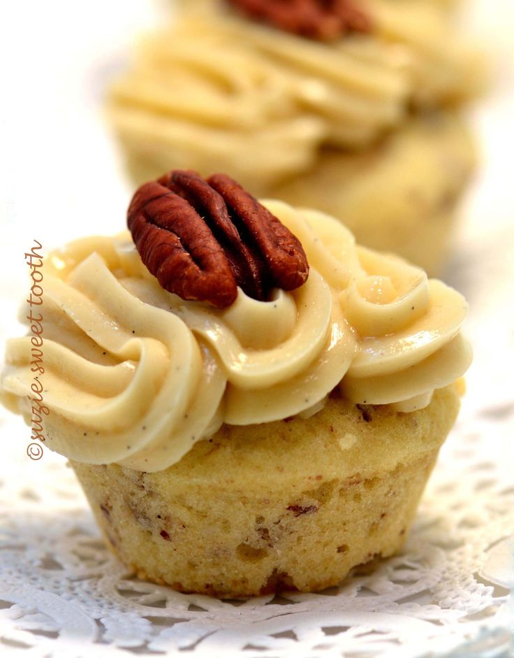 Butter Pecan Cupcake with maple buttercream (the recipe is for mini cupcakes, but it will yield about 6 regular cupcakes!)