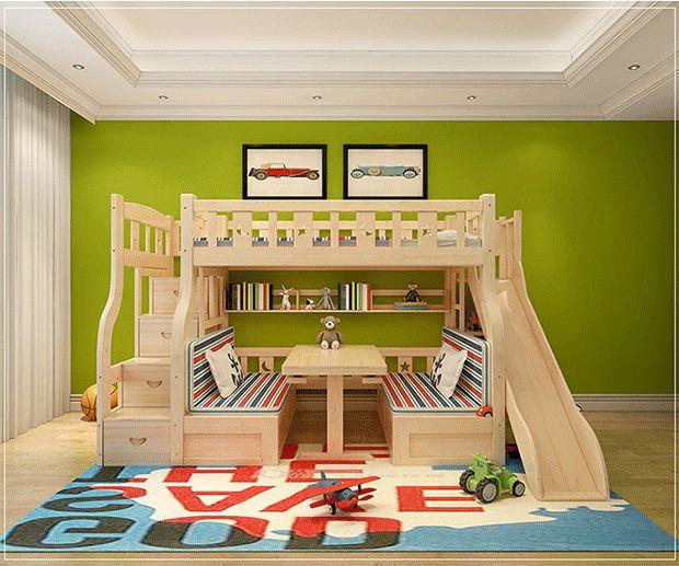 2017 Nuevo Diseño De Madera Niños Doble Literas/cama Para Niños Literas Con Diapositivas - Buy Product on Alibaba.com