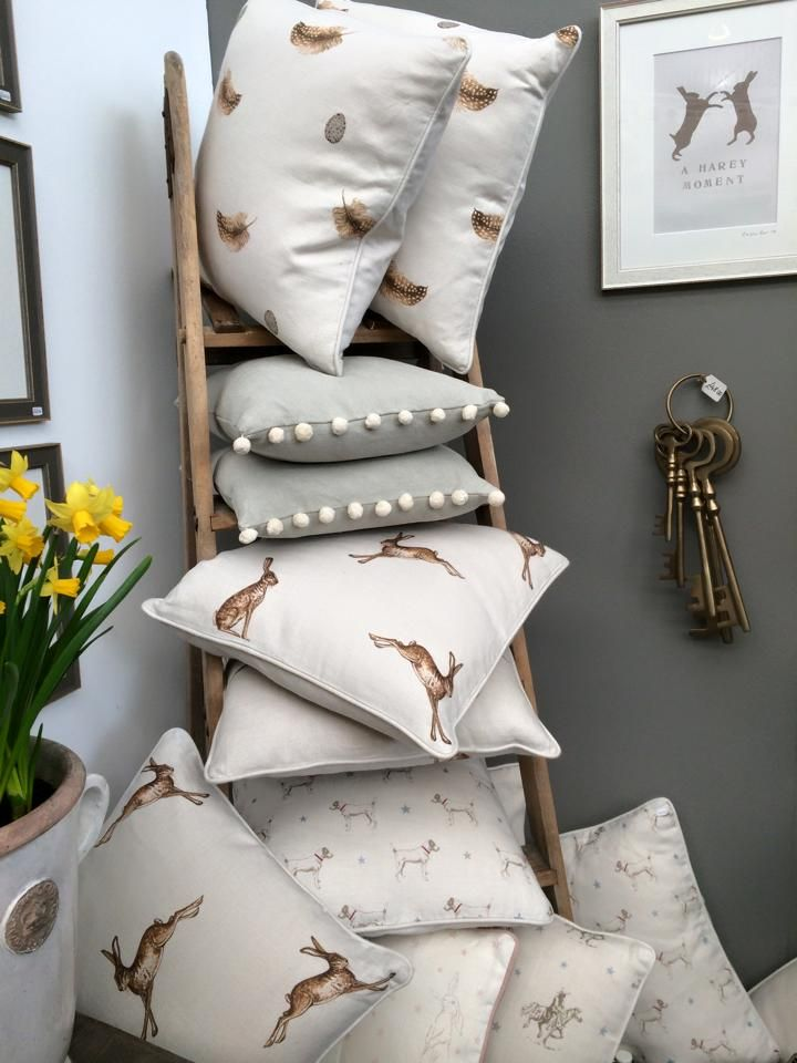 Loving all these cushions! Perfect for creating that cosy atmosphere! #homedecor #woodland #interiordesign #country #shabbychic