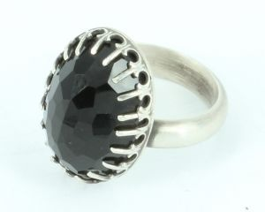 Brilliant CZ gallery ring in sterling silver and black cubic zirconia - $450