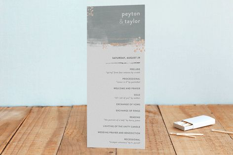 """""""Painted Canvas"""" - Abstract, Simple Foil-pressed Wedding Programs in Sapphire by Robin Ott."""