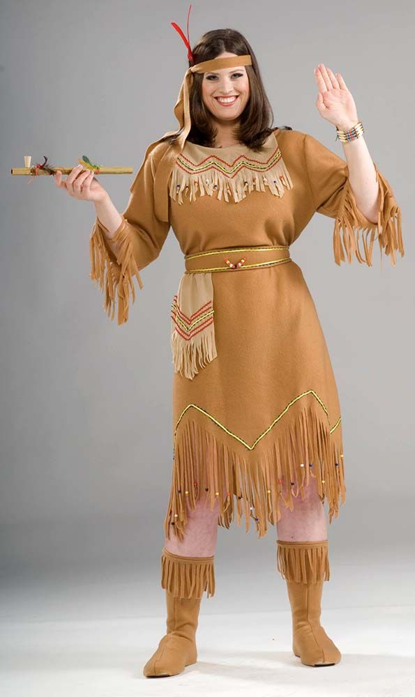Indian Maid Adult Plus Costume Womens Native American Pocahontas Suede Dress
