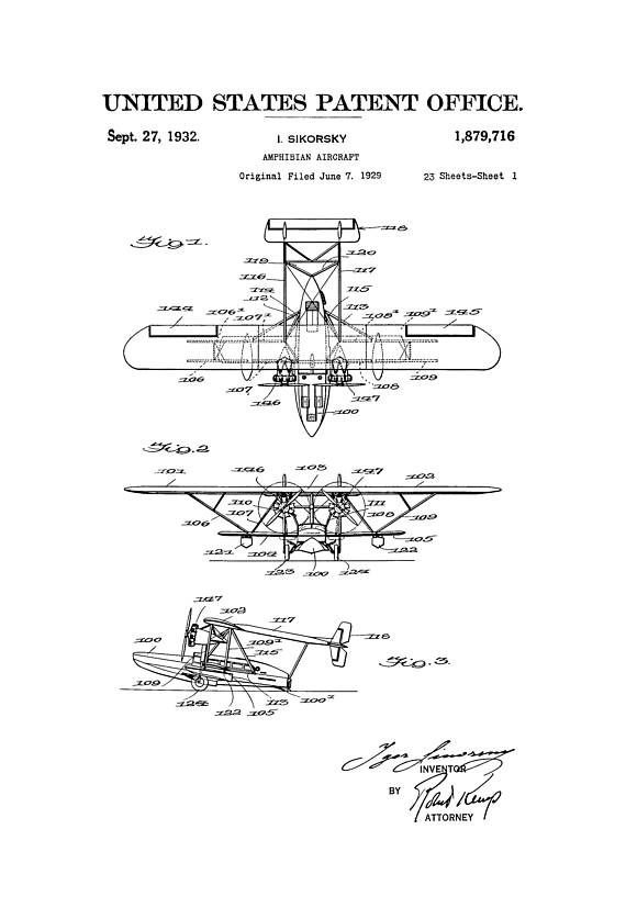 A patent print poster of an Amphibian Aircraft invented and designed by the famous aircraft designer Igor Sikorsky. The patent was issued by the United States Patent Office on September 27, 1932. Sikorsky, was a Russian American aviation pioneer in both helicopters and fixed-wing