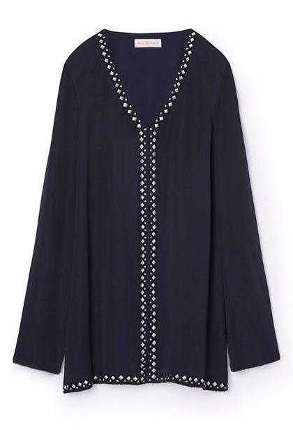 Tory Burch Embellished Silk Tunic