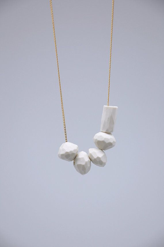 WHITE PORCELAIN Necklace // porcelain jewelry // faceted beads // geometric jewelry on Etsy.
