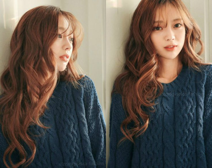 Pretty Korean ulzzang girl red hair natural makeup