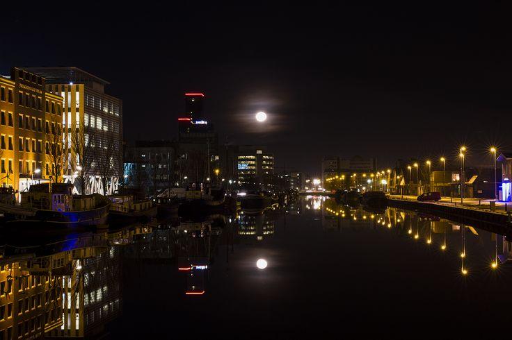 Nightshot at Leeuwarden Waterchannel at night