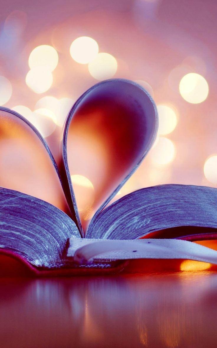 800x1280 Обои книга, боке, страницы, закладка, сердце, сердечко
