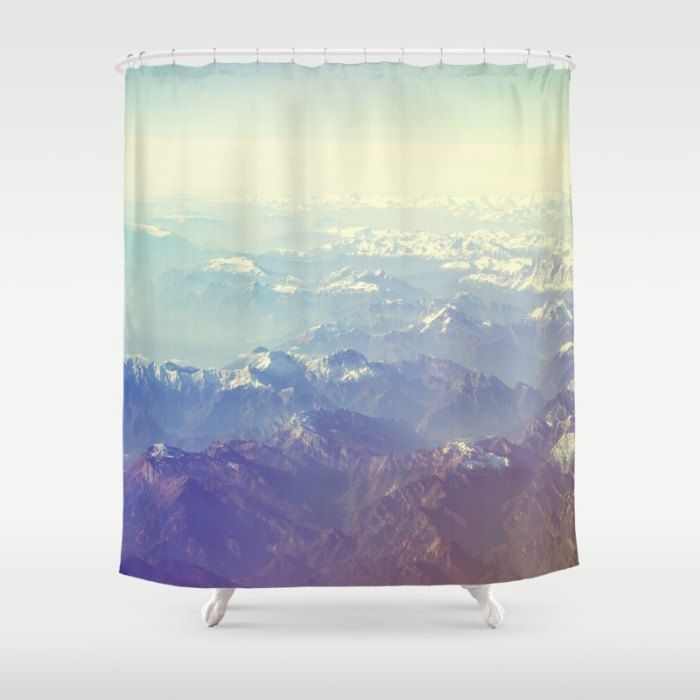 Mountain shower curtain, white shower curtain, white and blue,bathroom decor, unique shower curtain, landscape,mountain decor, inspirational by SophieMakesFabrics on Etsy
