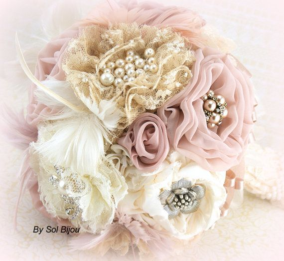 Brooch Bouquet  Vintage-Style in Ivory, Champagne, Blush and Dusty Rose with Feathers, Lace and Pearls on Etsy, $375.00