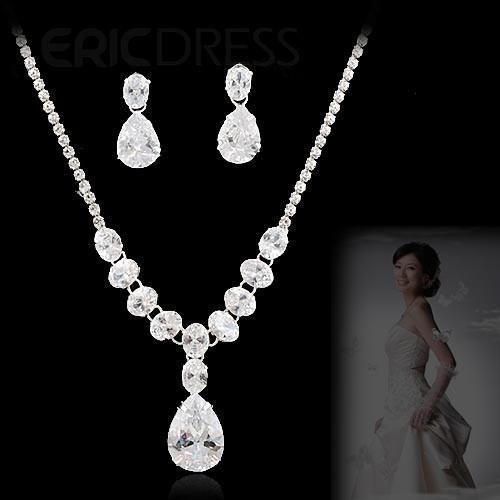 Beautiful Alloy with Rhinestone Wedding Jewelry Set